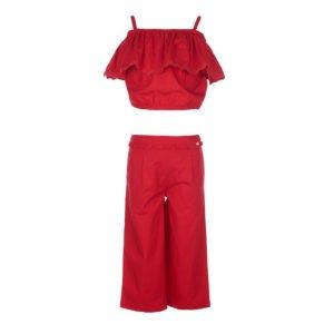 Κοντό crop top, έξωμο με βολάν, lace λεπτομέρειες και φαρδιά κοντή παντελόνα