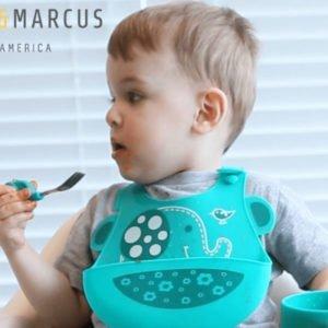 Σαλιάρα σιλικόνης με χούφτα ψίχουλων Ελεφαντάκι Marcus & Marcus MNMBB01-EP