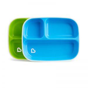 2 πιάτα με διαχωριστικό Munchkin blue/green 12448