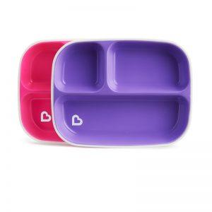 2 πιάτα με διαχωριστικό Munchkin pink/purple 12448