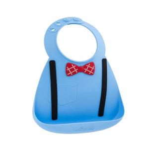 Σαλιάρα σιλικόνης Baby Bib scholar blue 70101 με θήκη και υπέροχο σχέδιο