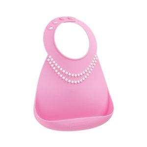 Σαλιάρα σιλικόνης Baby Bib pink pearls 70122 με θήκη και υπέροχο σχέδιο