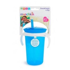 Ποτήρι με ενσωμ. μπολάκι & καλαμάκι Munchkin blue 11086
