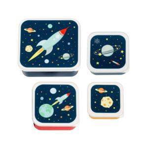 Σετ 4 δοχεία φαγητού Α Little Lovely Company Lunch & Snack Box Space SBSESP21