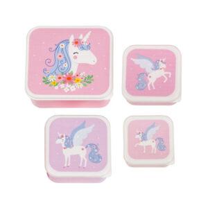 Σετ 4 δοχεία φαγητού Α Little Lovely Company Lunch & Snack Box Unicorn SBSEUN22