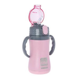 Μεταλλικό ανοξ. θερμός με καλαμάκι 300ml Ecolife 33-BO-3005