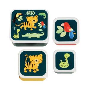 Σετ 4 δοχεία φαγητού Α Little Lovely Company Jungle Tiger Snack Box