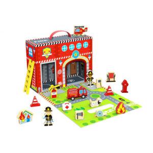 Ξύλινo σετ σταθμός πυροσβεστικής Tooky Toy 3Ε+ ty203