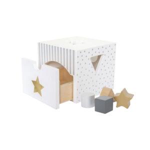 Ξύλινο κουτί με σχήματα Jabadabado JB-W7155 ασημί