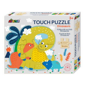 Ξύλινο puzzle Avenir dinosaur 3E+ με 4 εικόνες με υφές