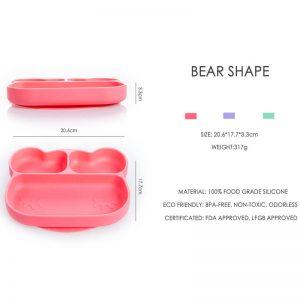Πιάτο σιλικόνης αρκουδάκι με χωρίσματα Babywise SLP03X