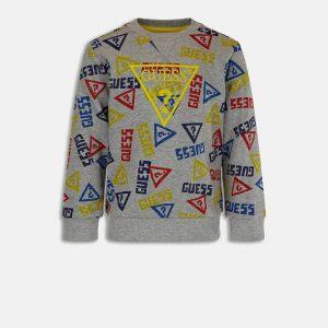 Μπλούζα φούτερ Guess με allover λογότυπο N1YQ05KA6R0 γκρι