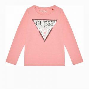 Μπλούζα με πούλιες Guess K1YI29K6YW1 ροζ παλ για κορίτσια
